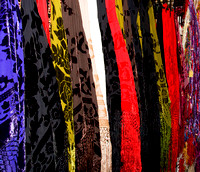 Photoshop filter effects on colorful skirts in a clothing store.